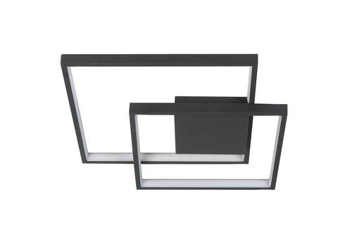 Highlight Plafondlamp Piazza vierkant B  42 cm zwart