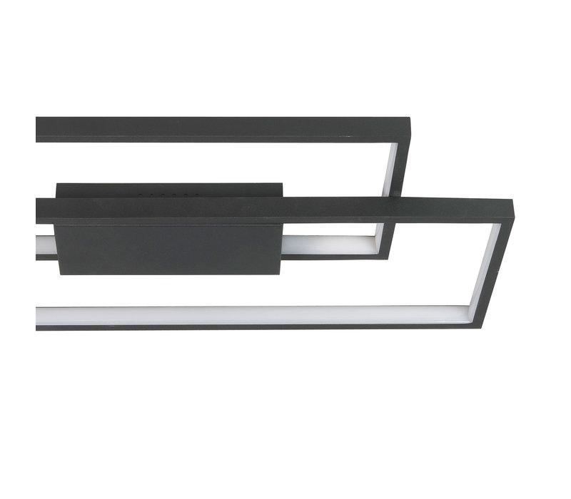 Plafondlamp Stretto rechthoek L  69 cm B 29 cm zwart