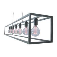 Hanglamp Esteso 7 lichts L 168 cm B 25 cm zwart