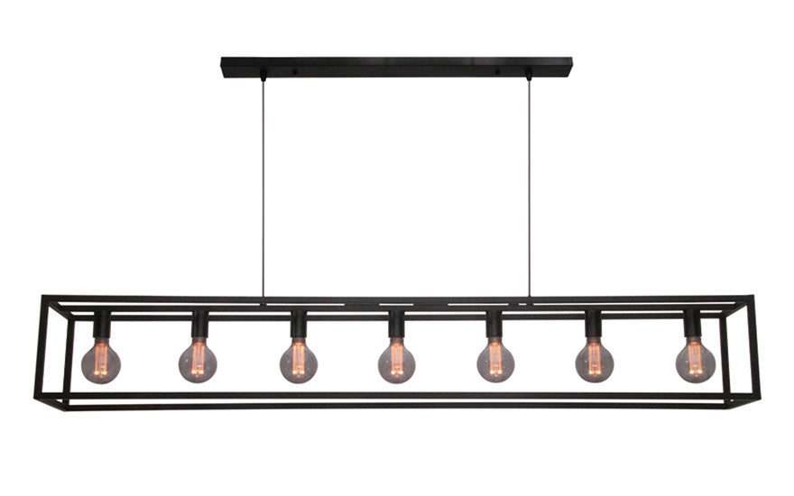 Freelight Hanglamp Esteso 7 lichts L 168 cm B 25 cm zwart
