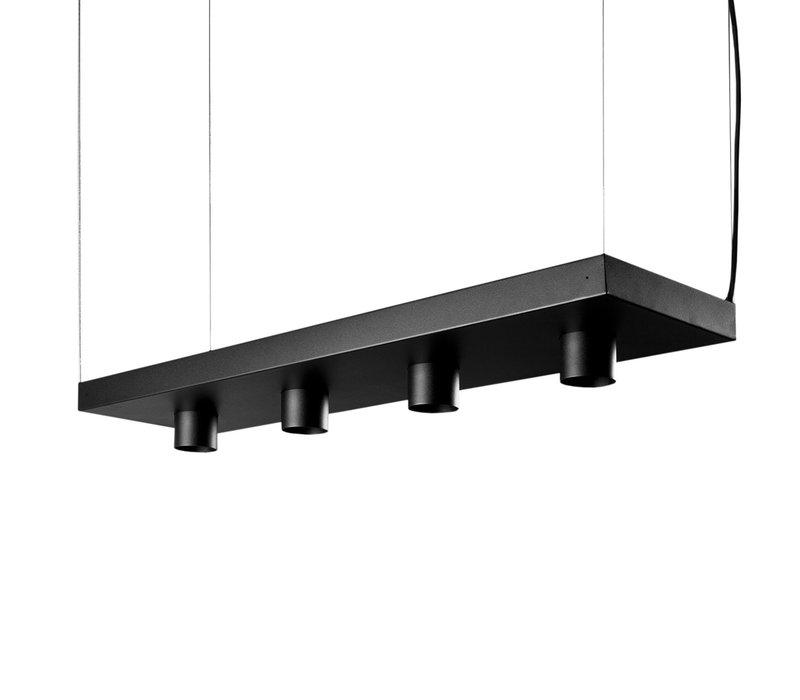 Hanglamp Plant 4 lichts L 80 cm B 24 cm zwart