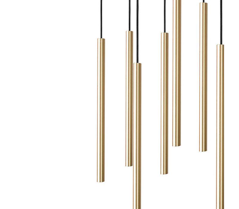 Hanglamp Laser Brass 10 lichts L 78 cm B 20 cm zwart - messing