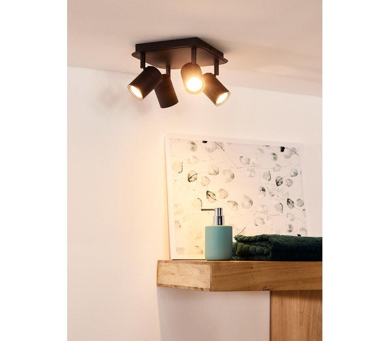 LENNERT Plafondspot 4x5W/GU10 Mat Zwart