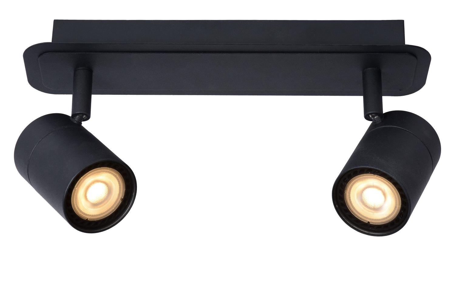 Lucide LENNERT Plafondspot Badk.-Zwart-LED Dimb.-2xGU10
