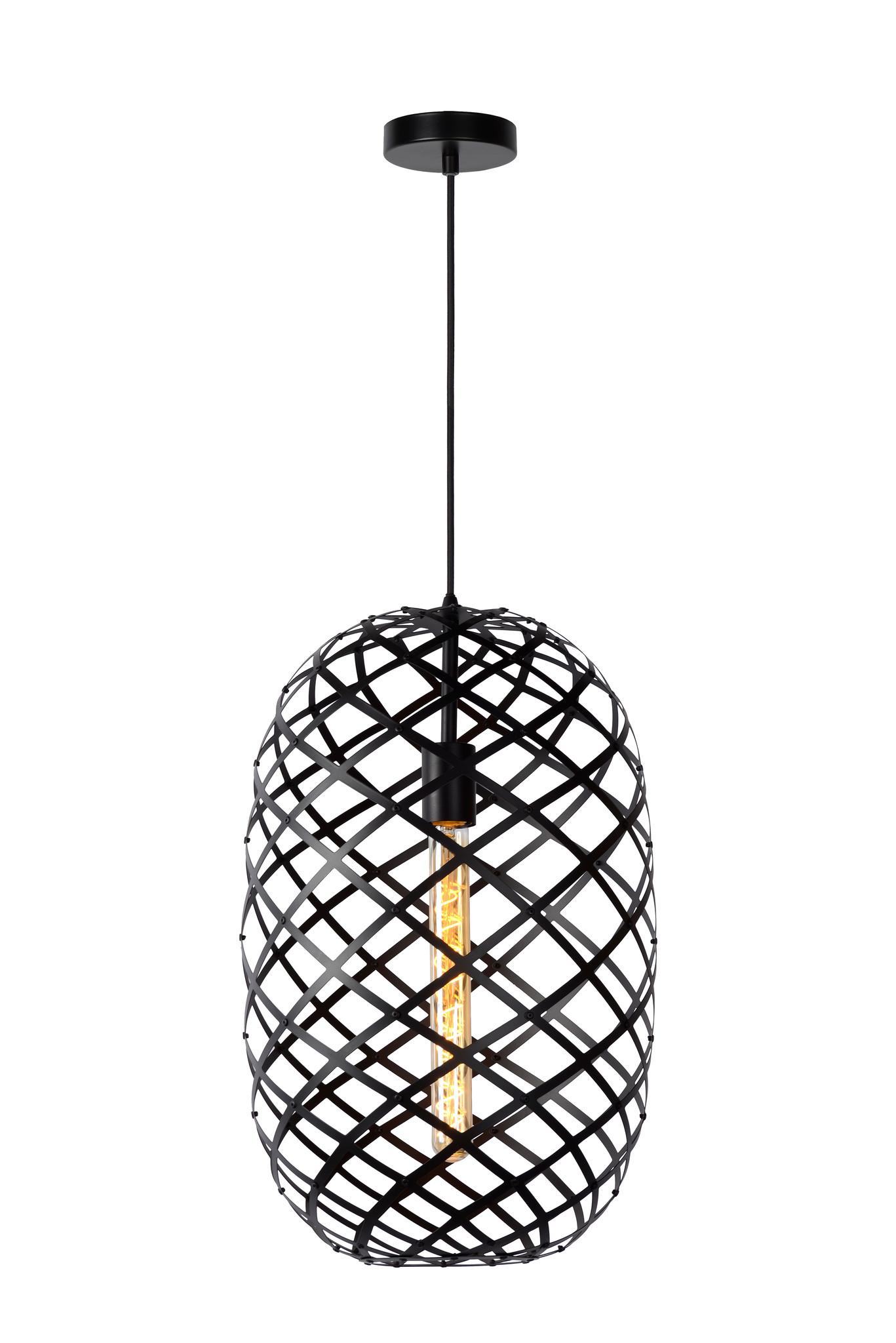 Lucide WOLFRAM Hanglamp-Zwart-Ø32-1xE27-60W-Metaal