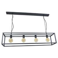 Hanglamp Frame 4 lichts L 120 cm B 25 cm zwart