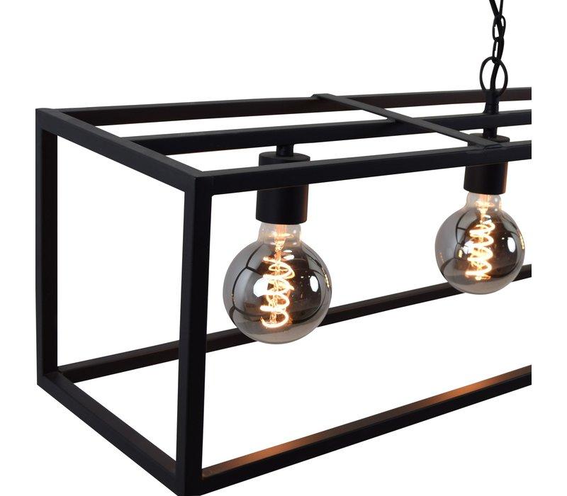 Hanglamp Frame 6 lichts L 160 cm B 25 cm zwart
