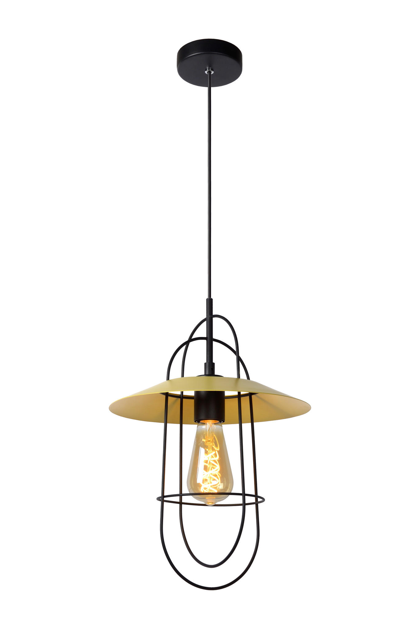 Lucide MASSON Hanglamp-Geel-Ø28-1xE27-40W-Staal