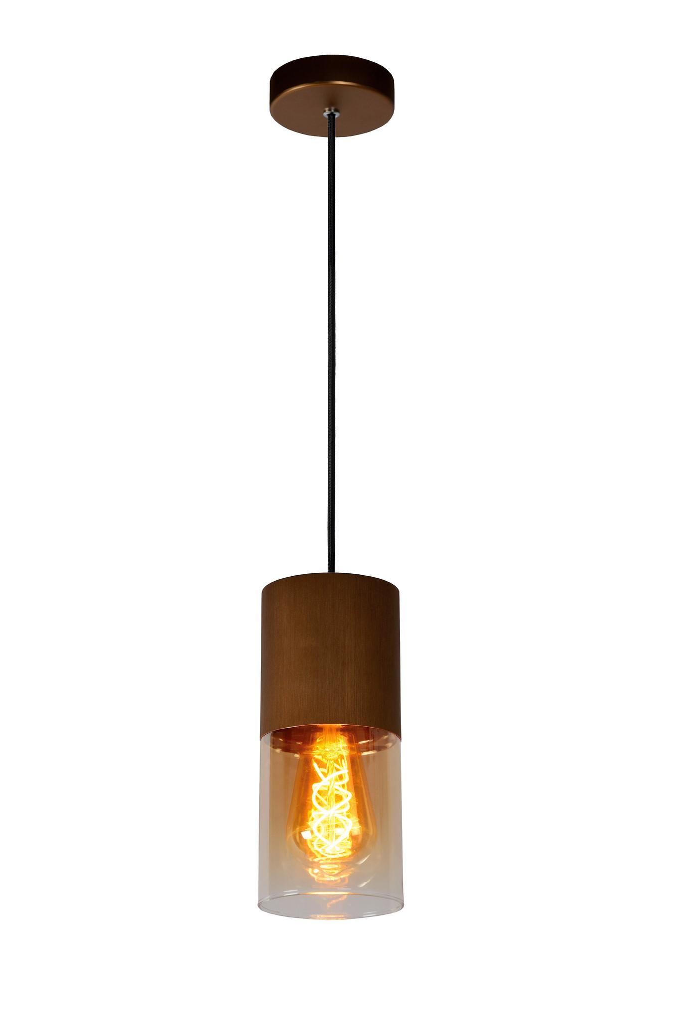 Lucide ZINO Hanglamp-Amber-Ø10-1xE27-60W-Glas