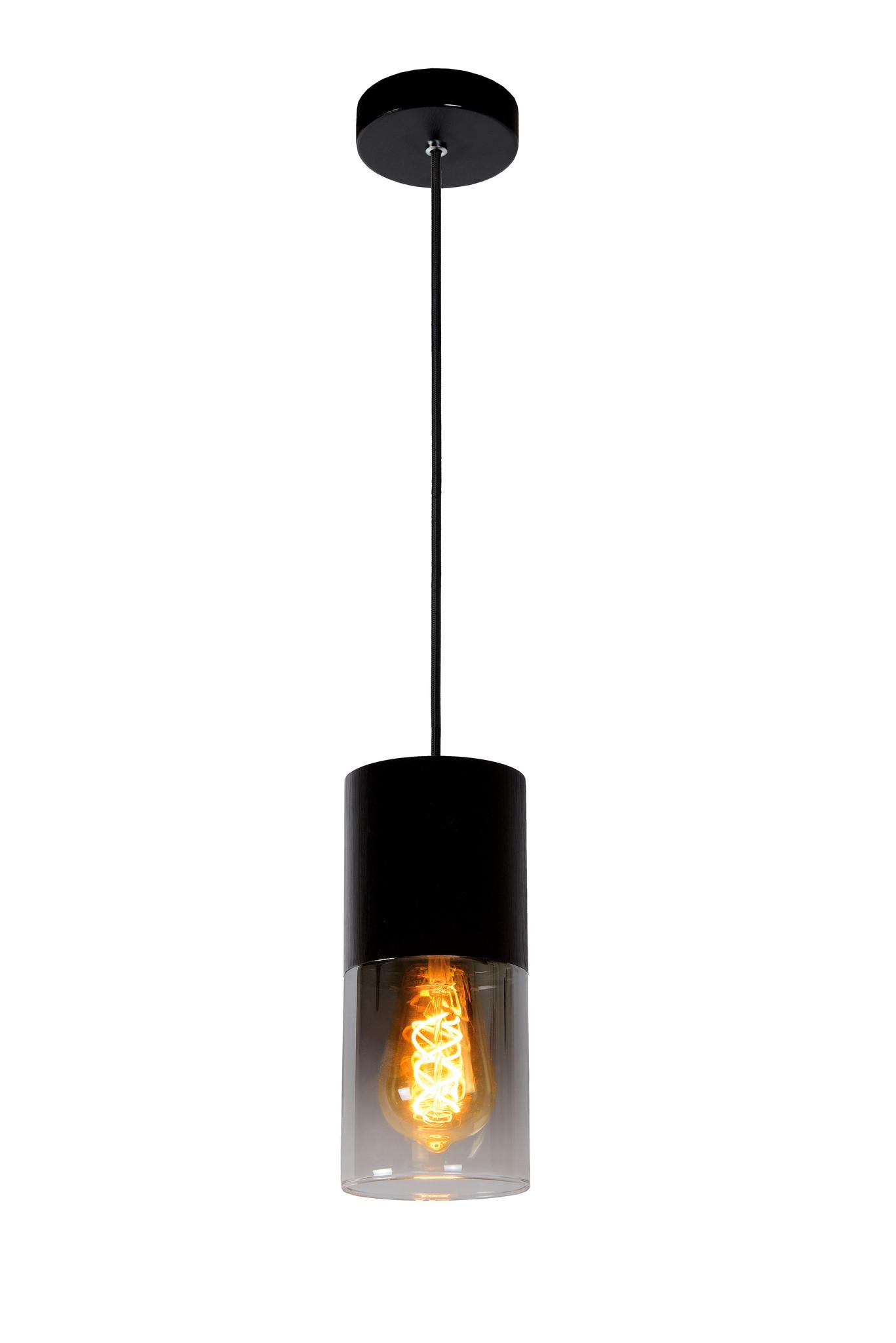 Lucide ZINO Hanglamp-Zwart-Ø10-1xE27-60W-Glas