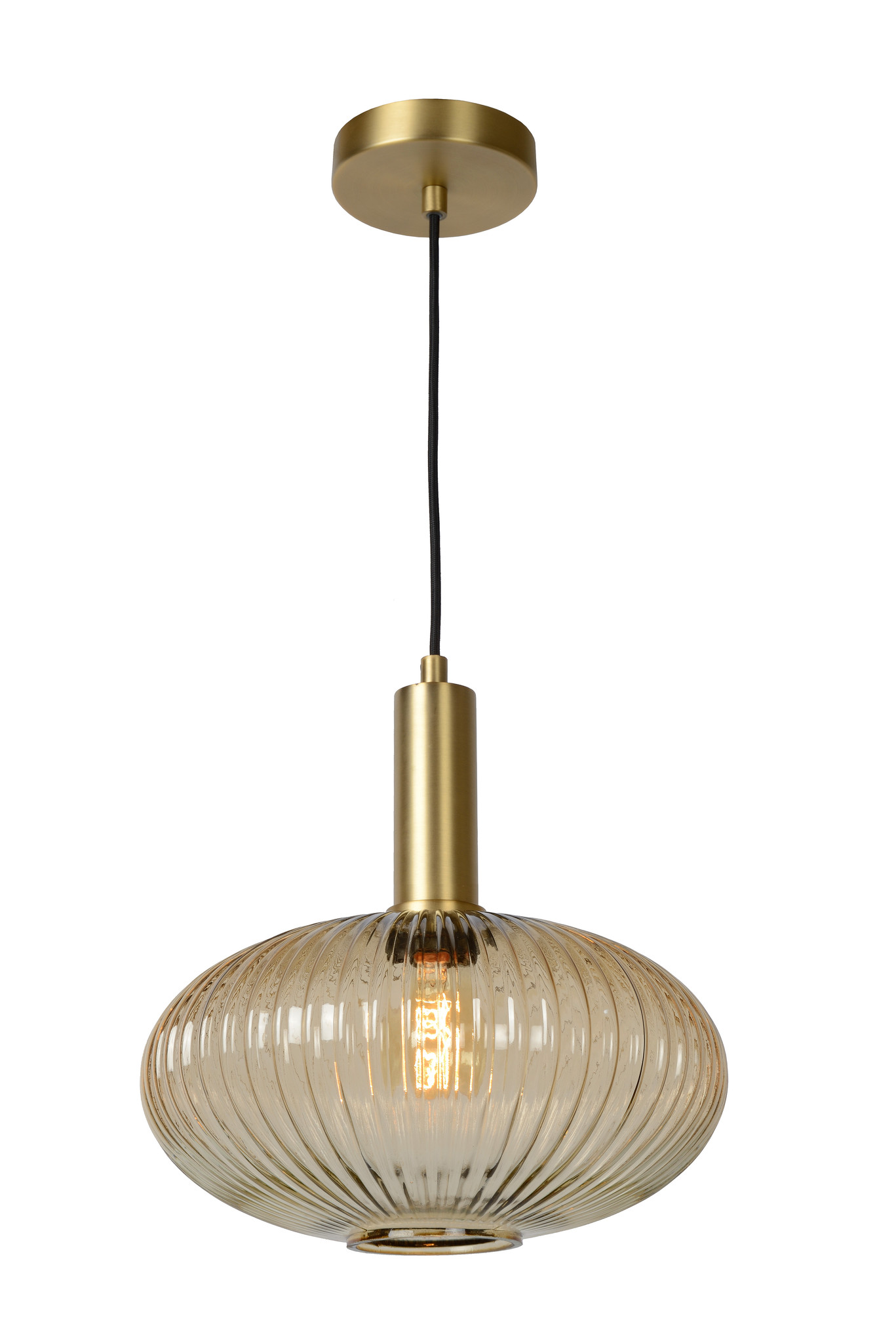 Lucide MALOTO Hanglamp-Amber-Ø30-1xE27-40W-Glas