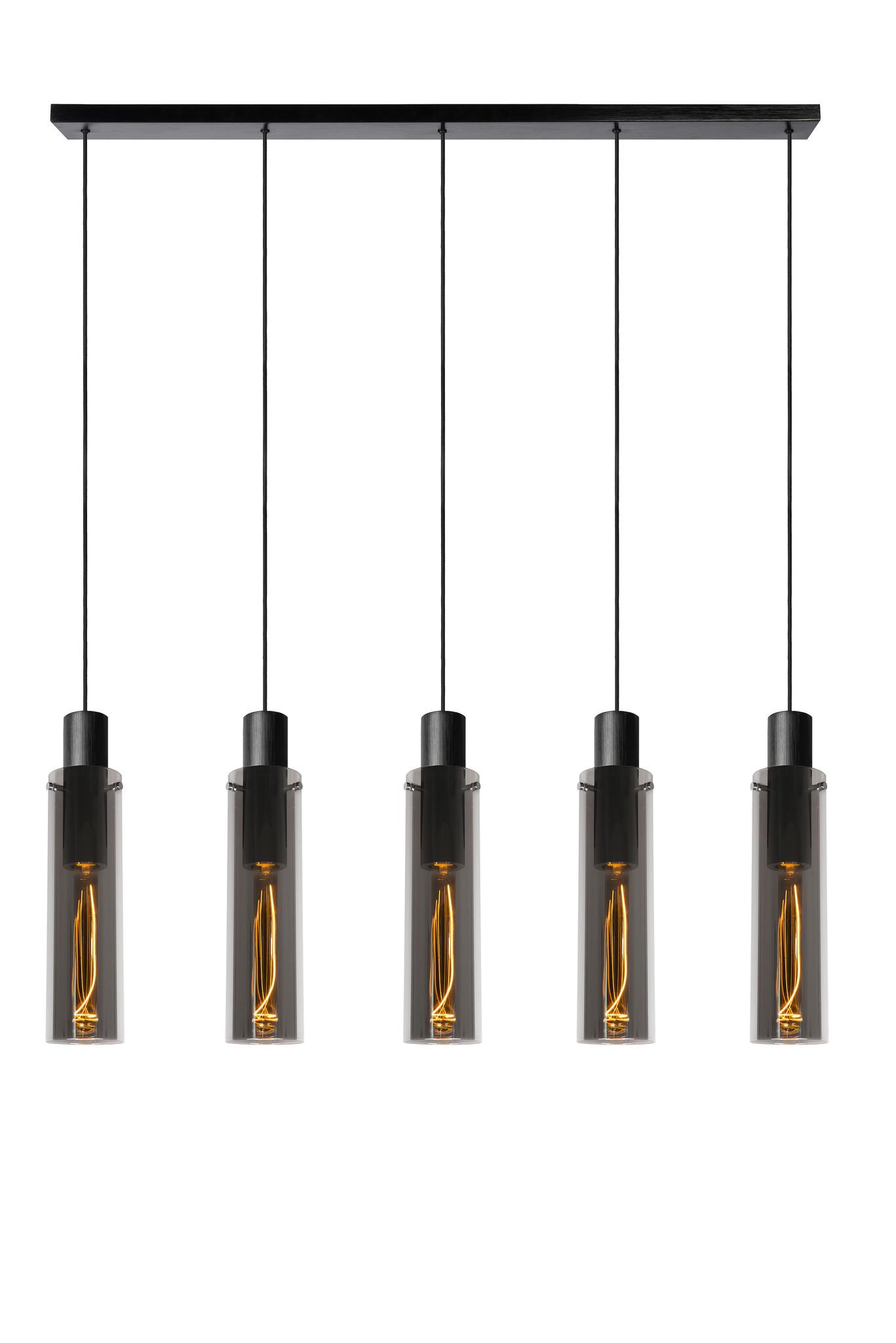 Lucide ORLANDO Hanglamp-Fumé-5xE27-40W-Glas