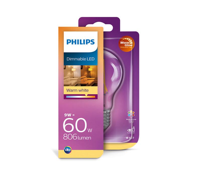 LED E27 lamp 60-9 Watt Philips warmglow filament DIM