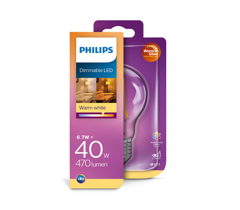 LED E27 lamp 40-6,7 Watt Philips warmglow filament DIM