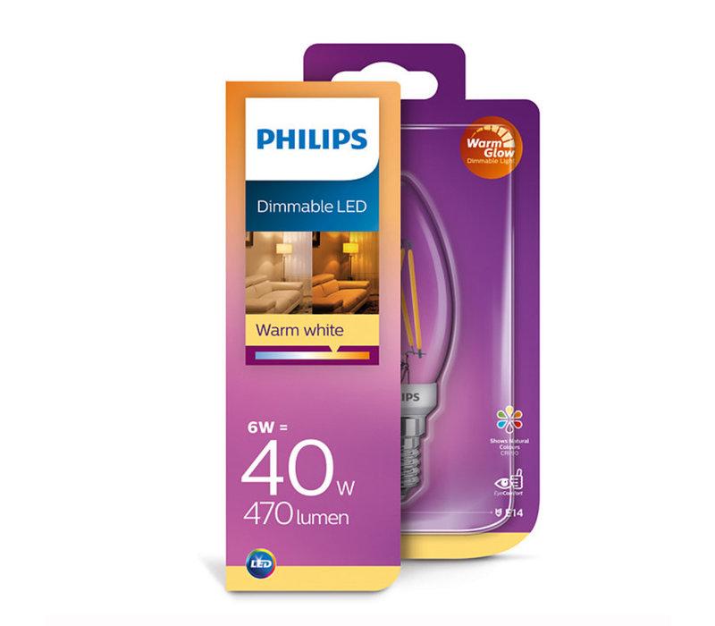 LED E14 kaars 40-6 Watt Philips warmglow filament DIM