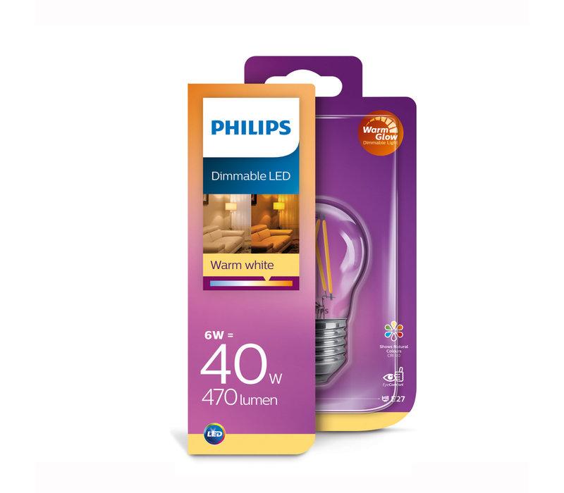 LED E27 kogel 40-6 Watt Philips warmglow filament DIM