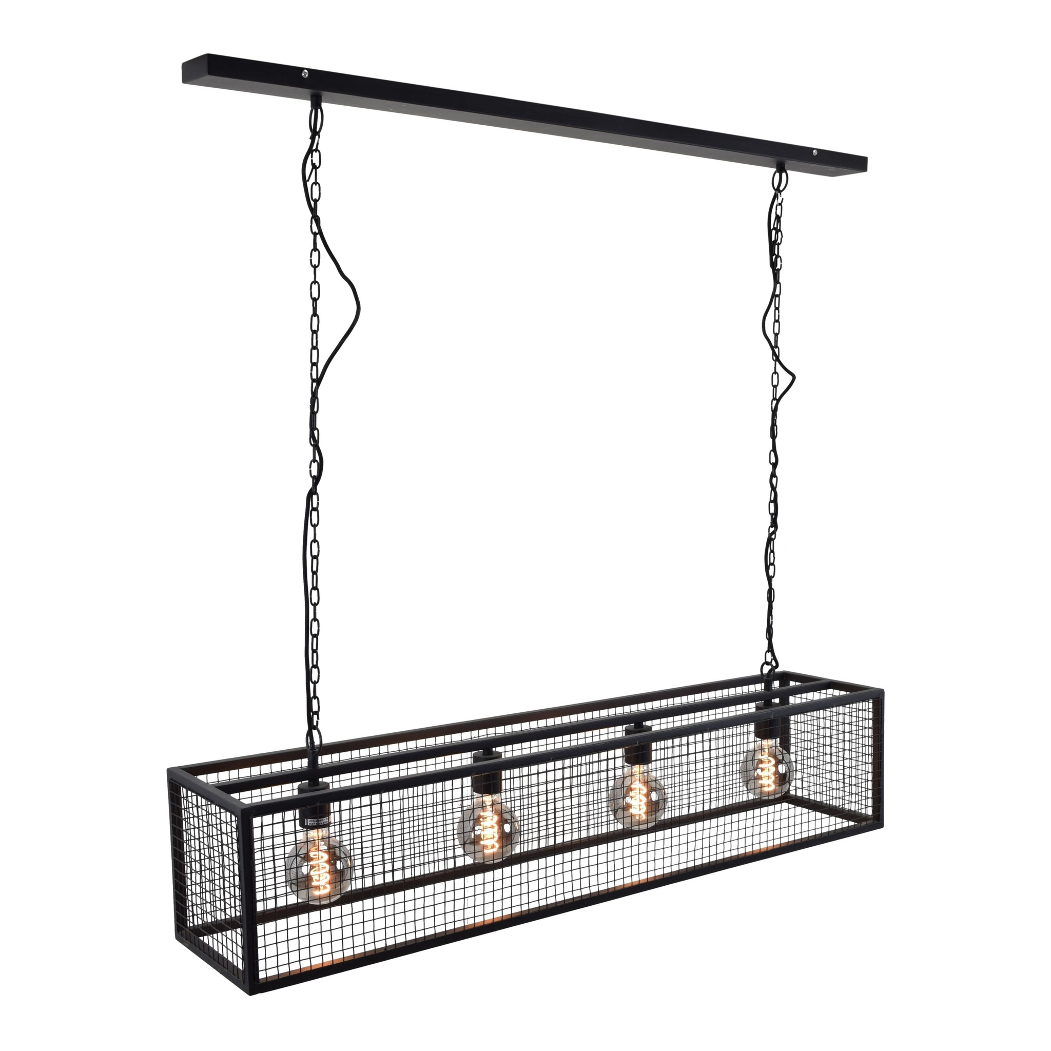 Urban Interiors Hanglamp Frame Gaas 4 lichts L 120 cm B 25 cm zwart