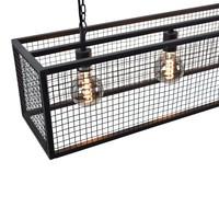 Hanglamp Frame Gaas 4 lichts L 120 cm B 25 cm zwart