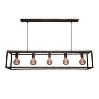 Hanglamp Esteso 5 lichts L 120 cm B 25 cm zwart