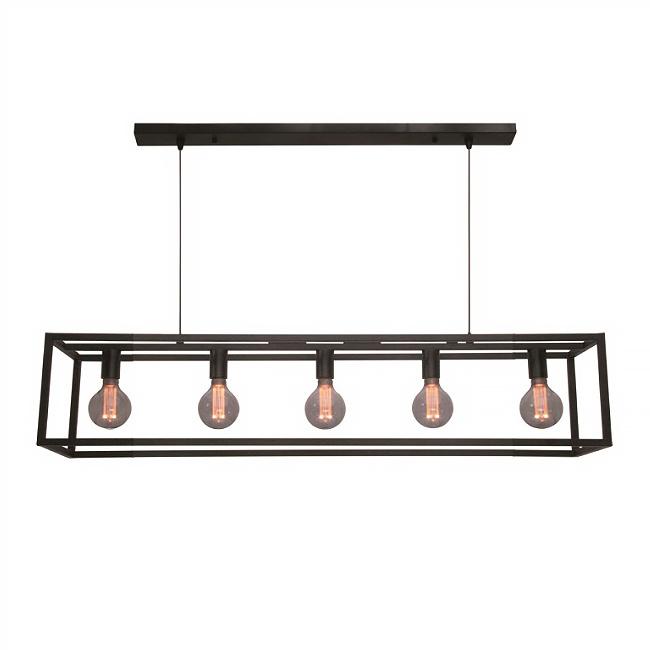 Freelight Hanglamp Esteso 5 lichts L 120 cm B 25 cm zwart