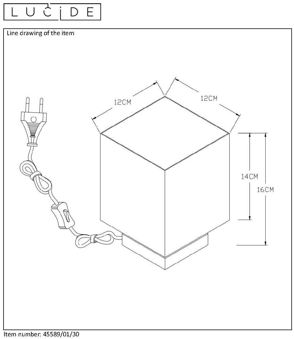 Lucide SUZY Tafellamp E1440W Vierkant ZwartGoud