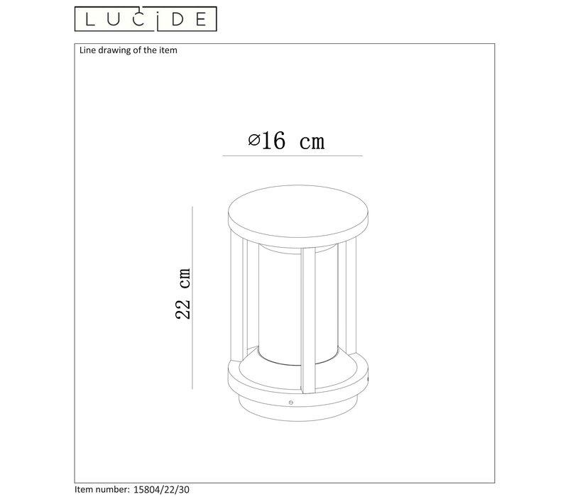 CADIX Sokkellamp Buiten 22cm E27/max 15W led Zwart