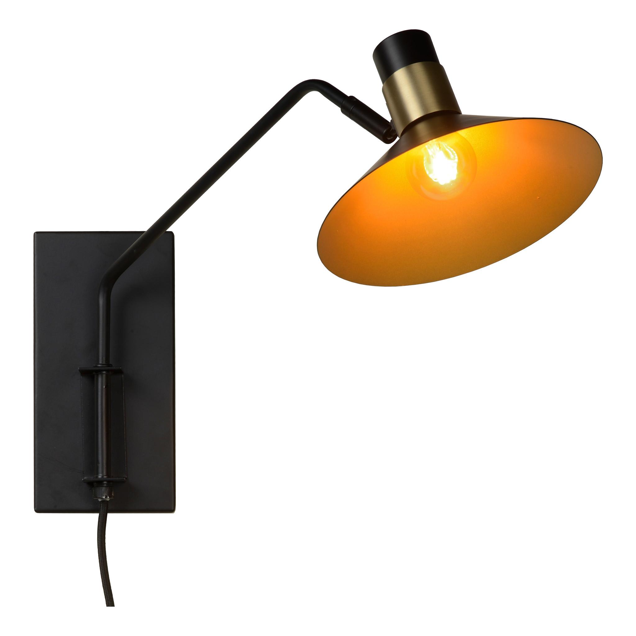 Lucide PEPIJN Wandlamp-Zwart-1xE14-40W-3 StepDim-Staal