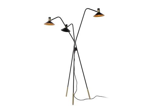 Lucide PEPIJN Vloerlamp 3xE14 Zwart / Goud