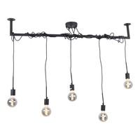 Hanglamp Bar 5 lichts L 120 cm zwart