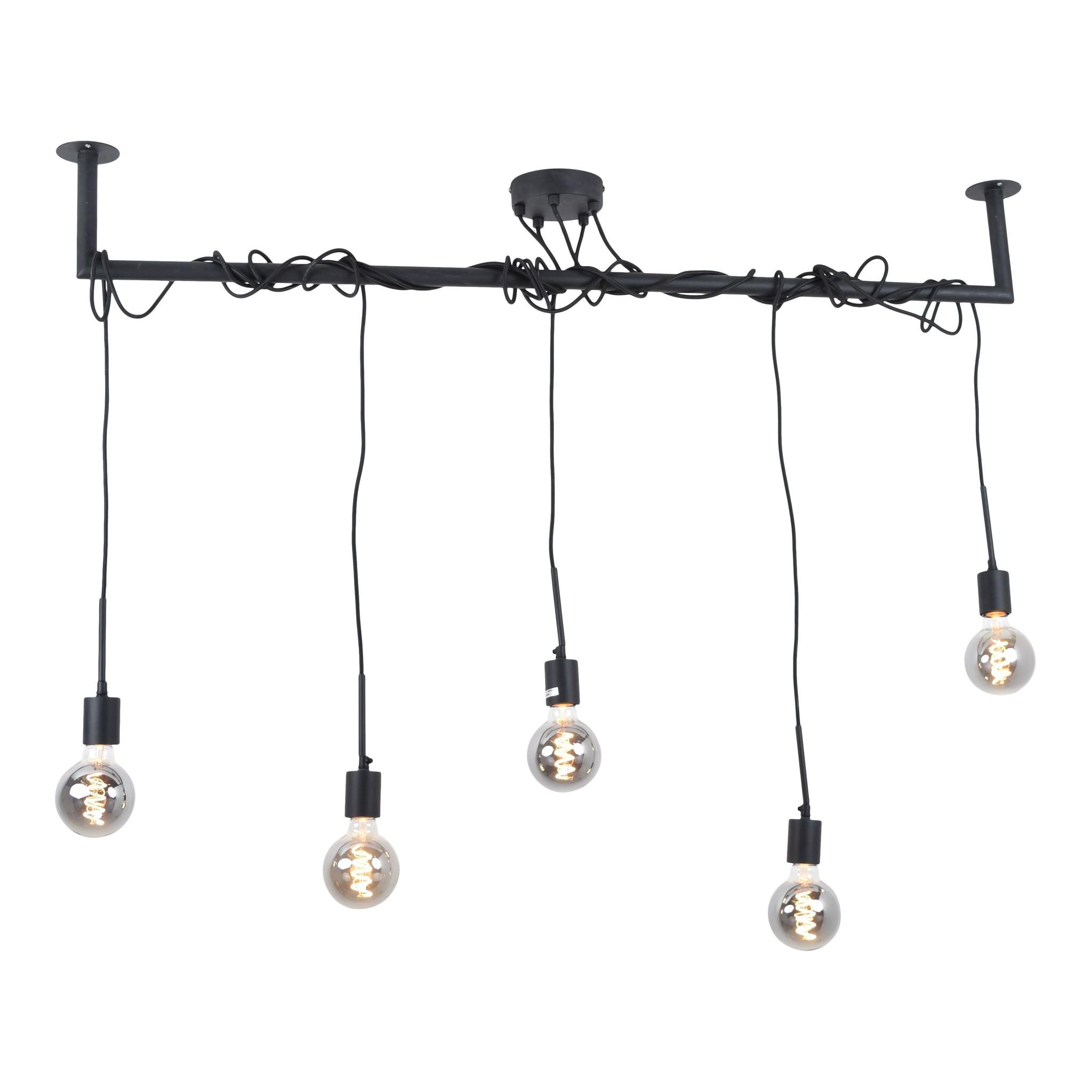 Urban Interiors Hanglamp Bar 5 lichts L 120 cm zwart