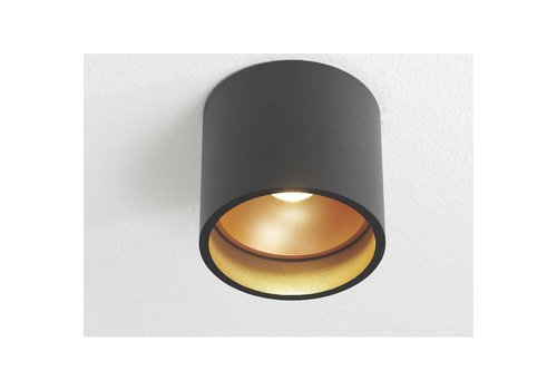 Artdelight Plafondlamp Orleans  Ø 11 cm H 10 cm zwart-goud