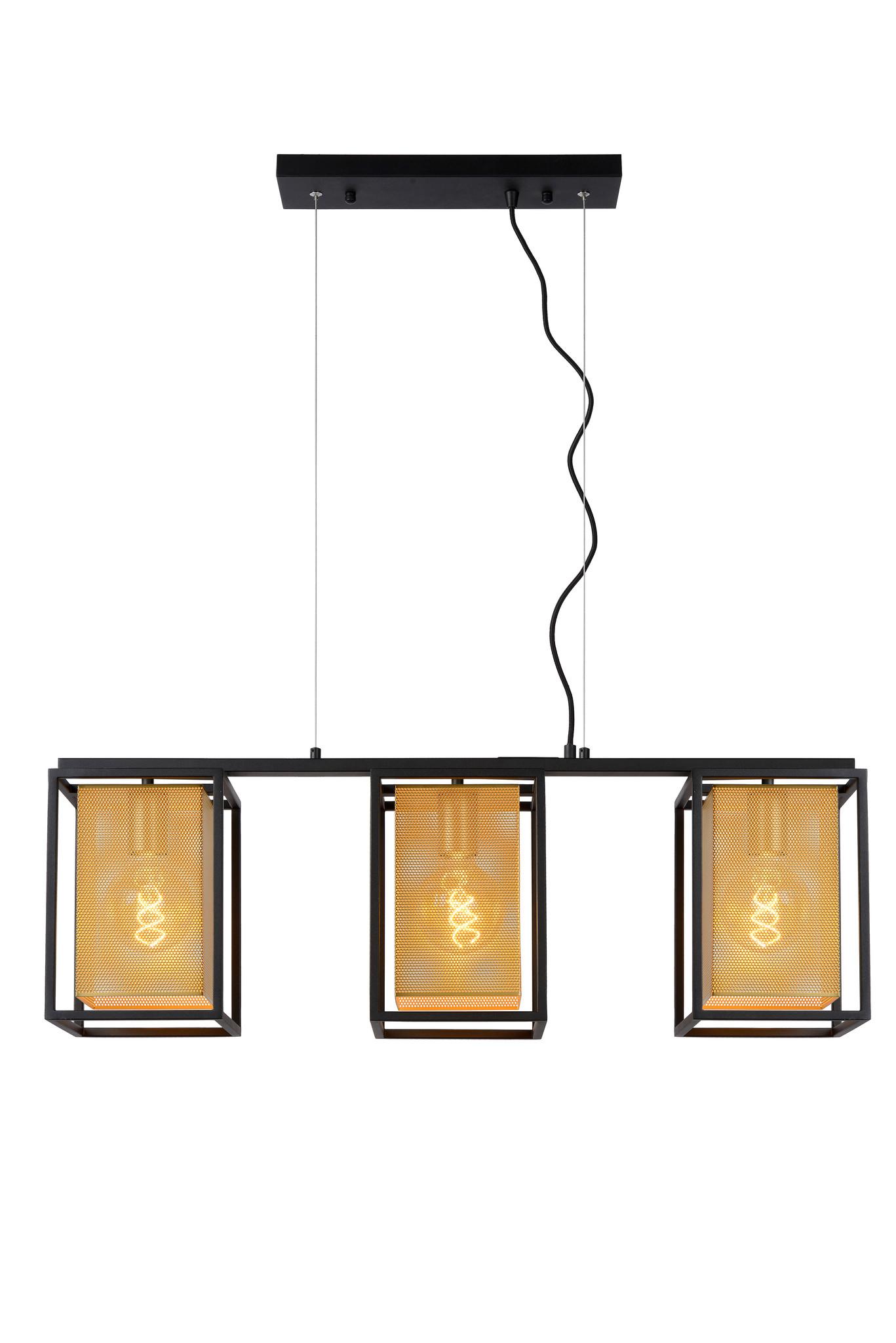 Lucide SANSA Hanglamp-Zwart-3xE27-40W-Metaal