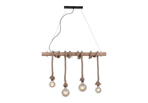 Paul Neuhaus Hanglamp Rope 4 lichts L 100 cm bruin-zwart