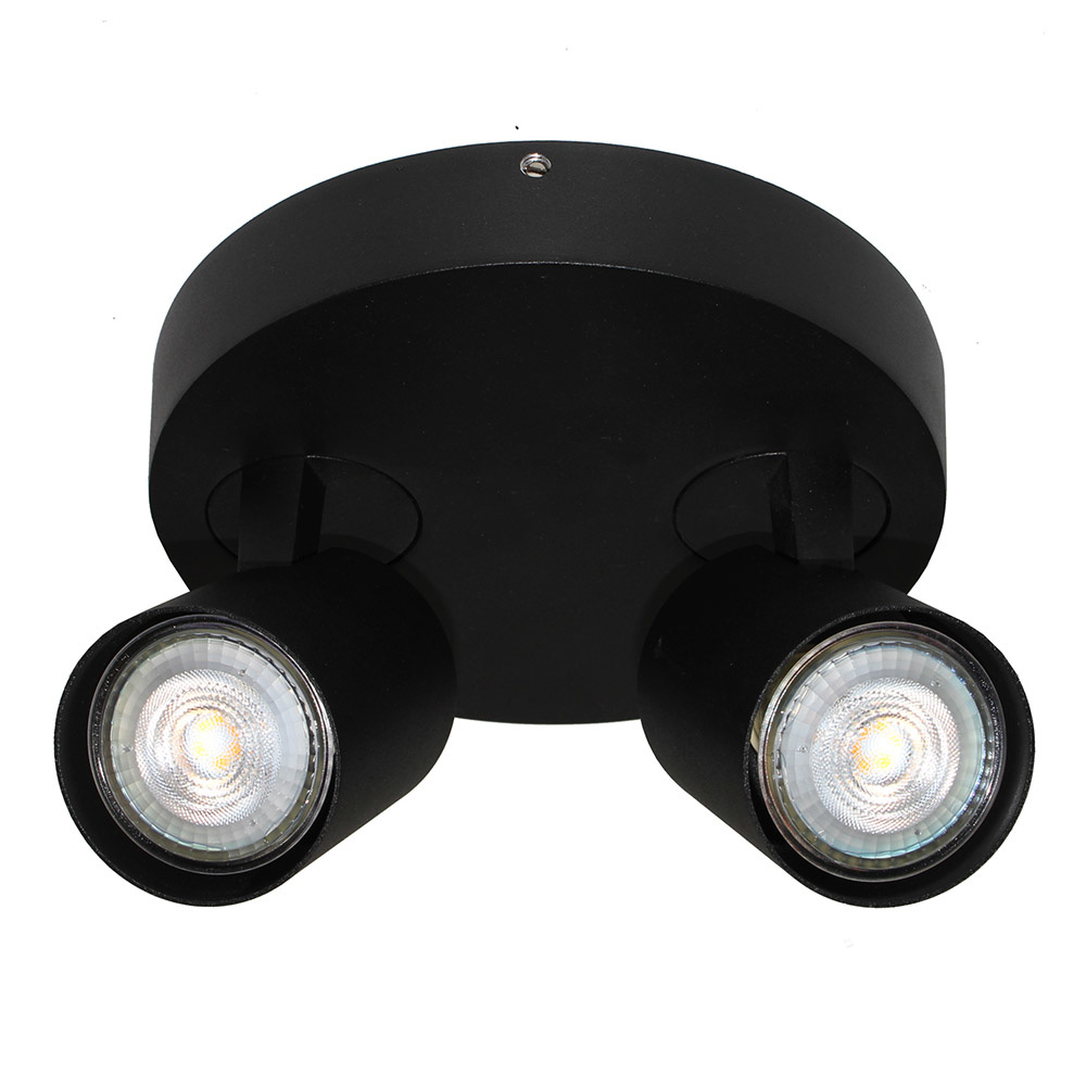 Artdelight Spot Vivaro 2 lichts rond Ø 17 cm zwart
