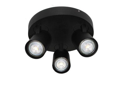 Artdelight Spot Vivaro 3 lichts rond Ø 21 cm zwart
