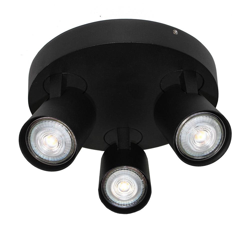 Artdelight Spot Vivaro 3 lichts rond � 21 cm zwart