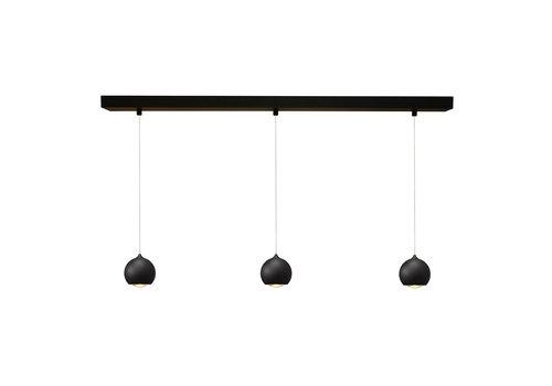 Artdelight Hanglamp Denver 3 lichts Ø 10 cm L 100 cm zwart