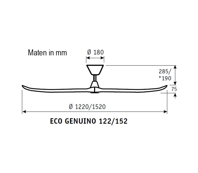 Plafondventilator Eco Genuino Ø 122 cm mat chroom-noten