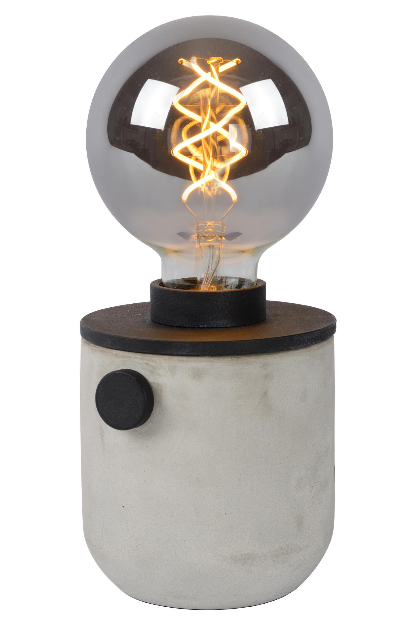 Lucide TANNER Tafellamp-Zwart-Ø10-1xE27-60W-Alumin.