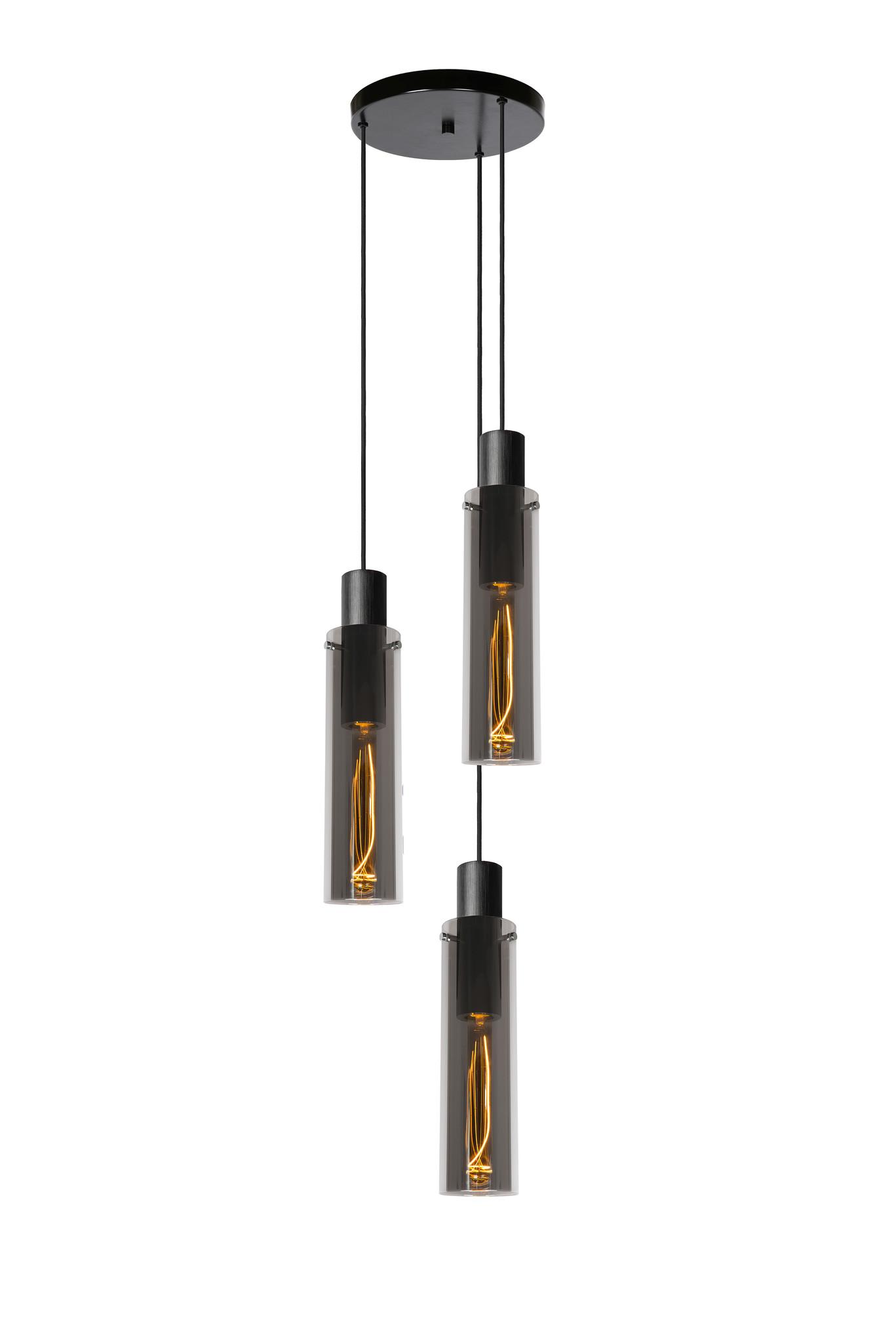 Lucide ORLANDO Hanglamp-Fumé-Ø32-3xE27-40W-Glas