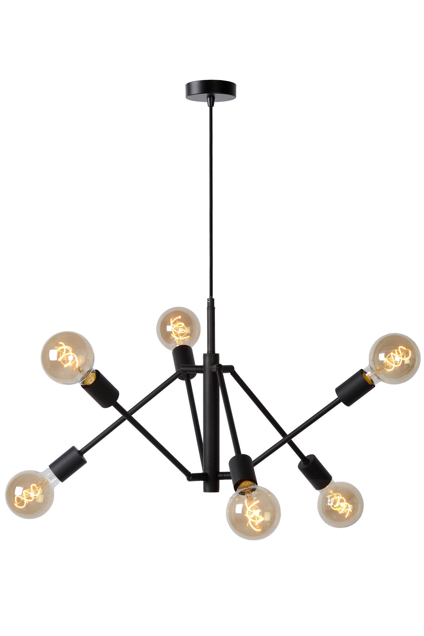 Lucide LESTER Hanglamp-Zwart-6xE27-40W-Metaal