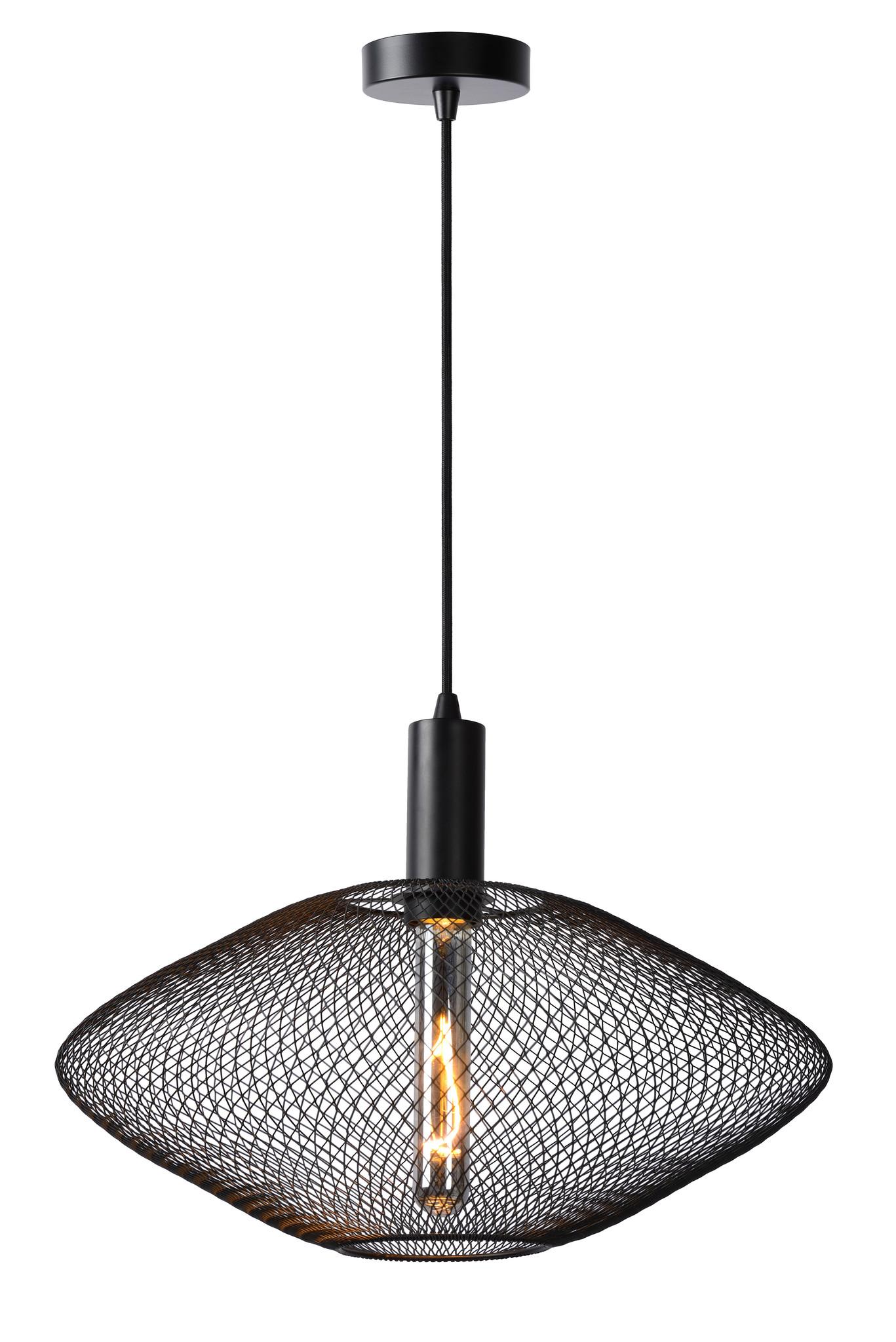 Lucide MESH Hanglamp-Zwart-Ø45-1xE27-40W-Metaal