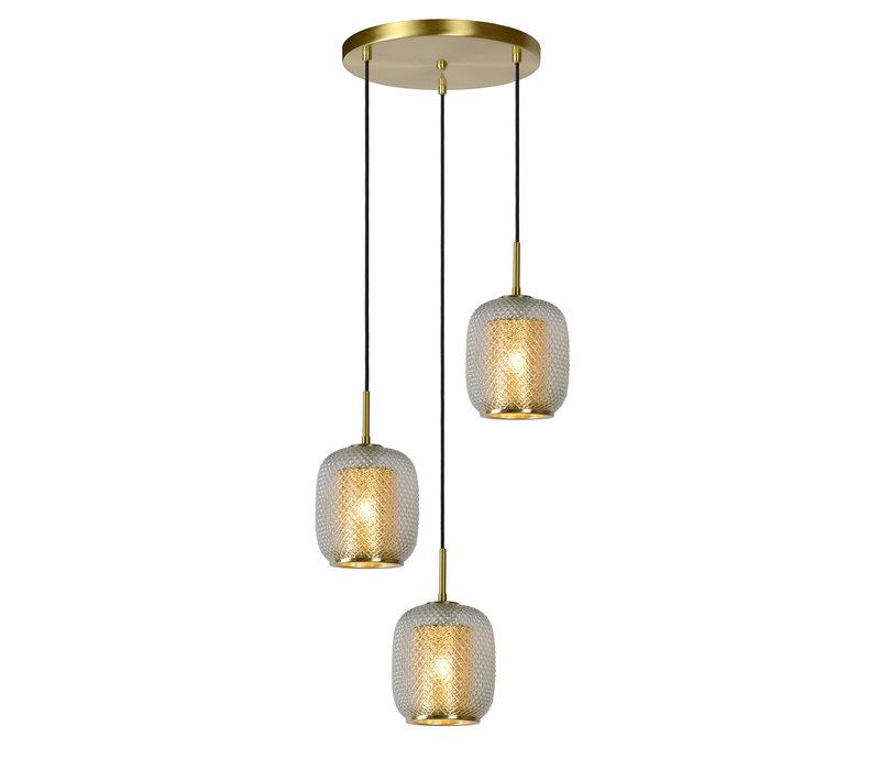 AGATHA  Hanglamp 3x E27/40W Mat Goud/Glas