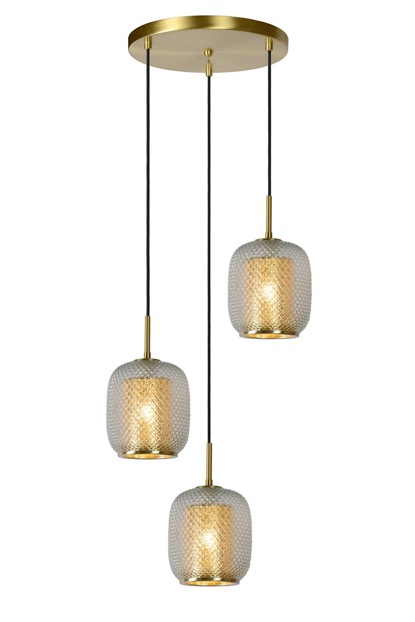 Lucide AGATHA Hanglamp 3x E27/40W Mat Goud/Glas