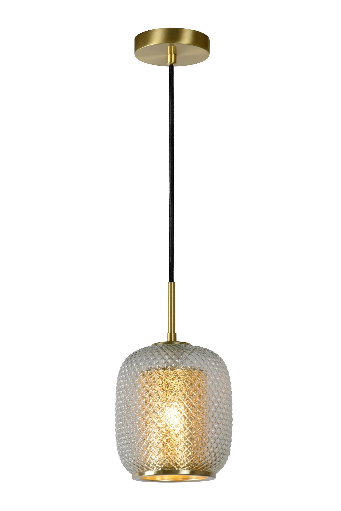 Lucide AGATHA Hanglamp 1x E27/40W Mat Goud/Glas