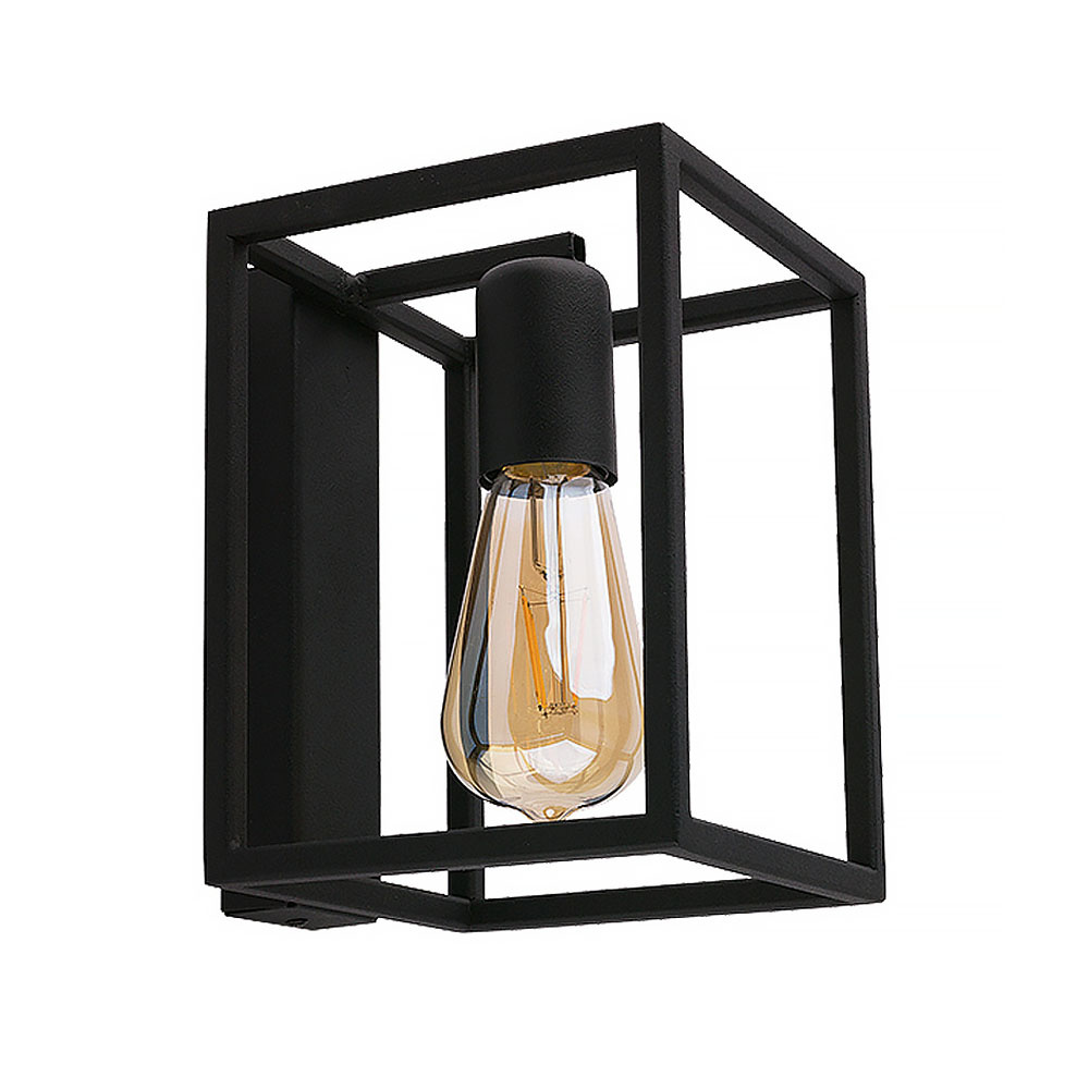 Nowodvorski Wandlamp Crate H 20 cm B 15 cm zwart