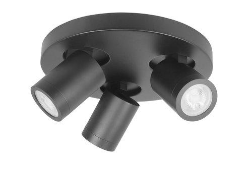Highlight Spot Oliver 3 lichts rond badkamer IP44 zwart