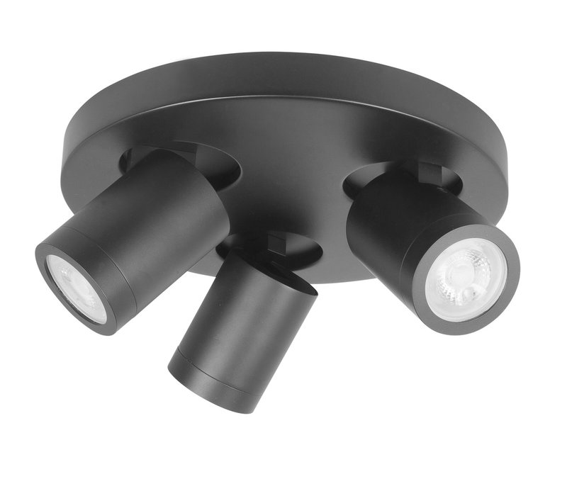 Spot Oliver 3 lichts rond badkamer IP44 zwart