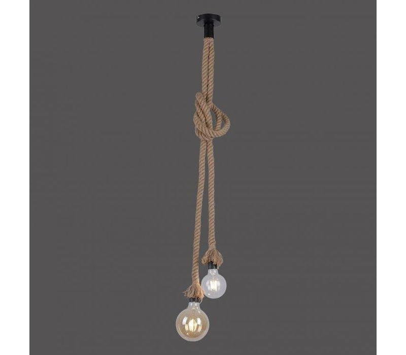 Hanglamp Ropa 2 lichts H 120 cm bruin-zwart