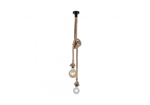 Paul Neuhaus Hanglamp Rope 2 lichts H 120 cm bruin-zwart